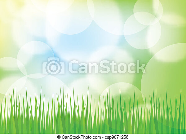 Green spring background with grass and blurry light - csp9071258
