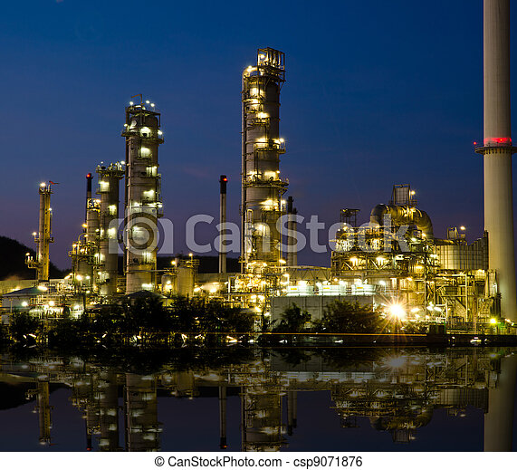 Petrochemical industry on sunset. - csp9071876