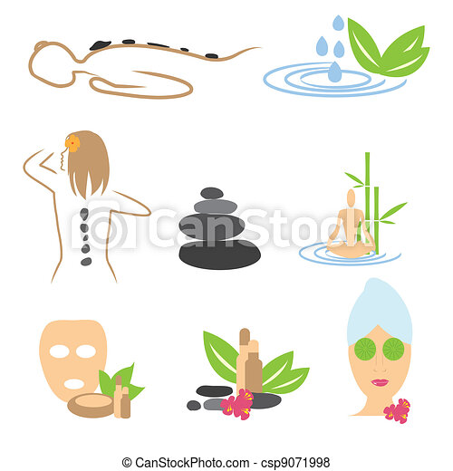 Collection of spa, massage, wellness icons - csp9071998
