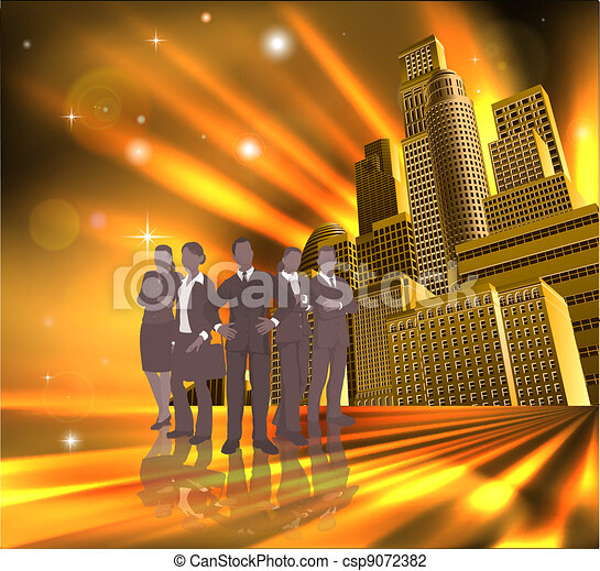 Professional team city illustration - csp9072382
