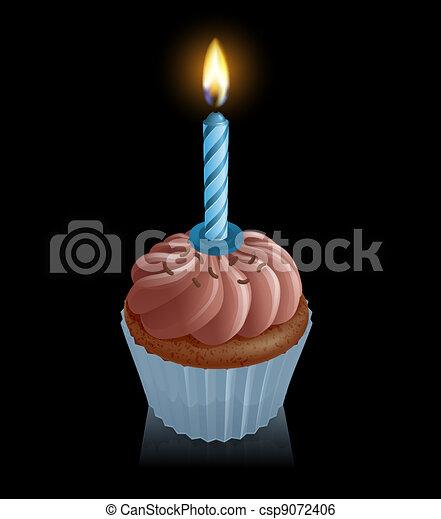Chocolate fairy cake cupcake with birthday candle - csp9072406