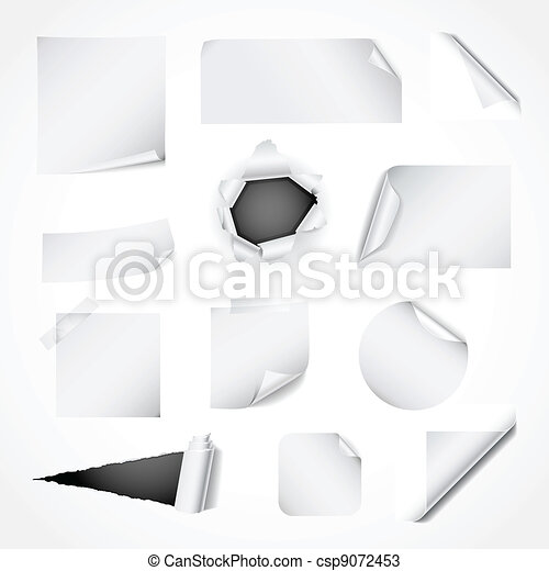 Set of white paper design elements - csp9072453
