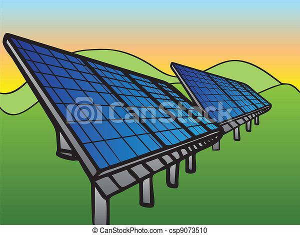 Solar Panels at Sunset Sky - csp9073510