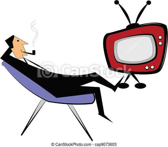 man watching television - csp9073603