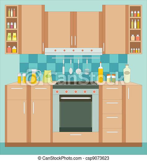 A konyha berendez s bels vektor bra sz n tele for La cocina de dibujos pdf