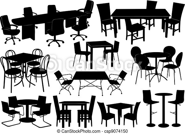 Illustration of tables and chairs - csp9074150