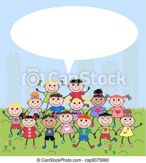 mixed ethnic children - csp9075660