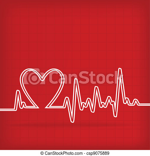 White Heart Beats Cardiogram on Red background - csp9075889