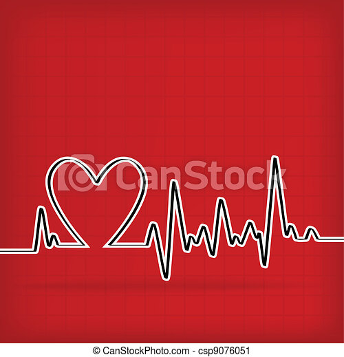 White Heart Beats Cardiogram on Red background - csp9076051