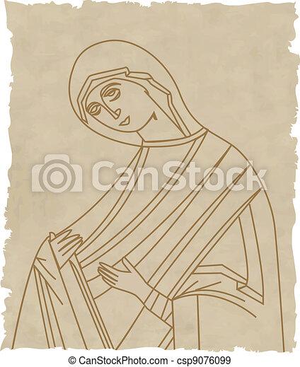 Vector illustration of Virgin Mary - csp9076099