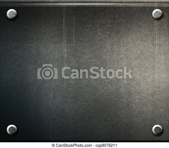 vector grunge background  metal plate with screws - csp9076211