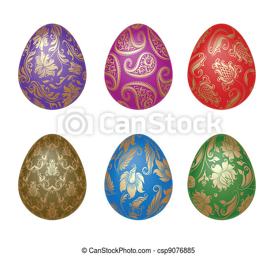 Set of Easter eggs with ornaments - csp9076885