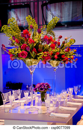 Colorful flower bouquet and table - csp9077099