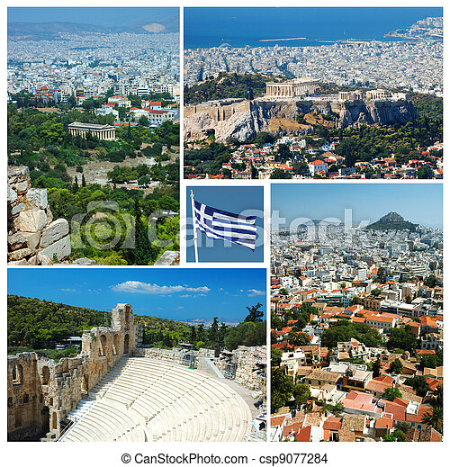 Collage of Athens landmarks , Greece - csp9077284