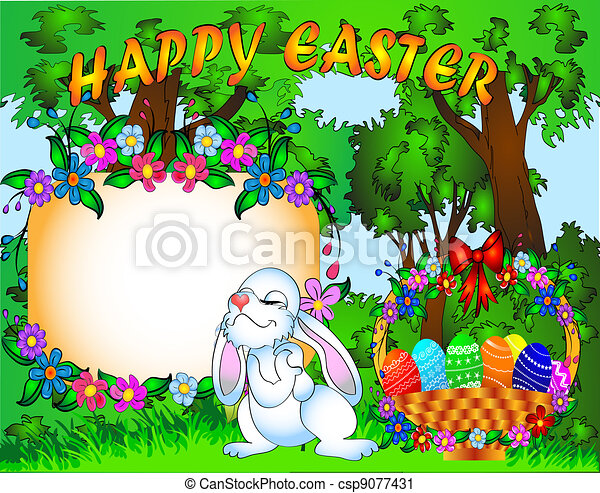 easter background with egg and amusing rabbit - csp9077431