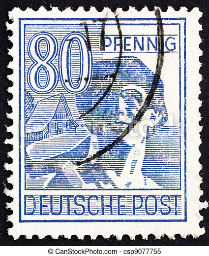 Postage stamp Germany 1948 Laborer - csp9077755