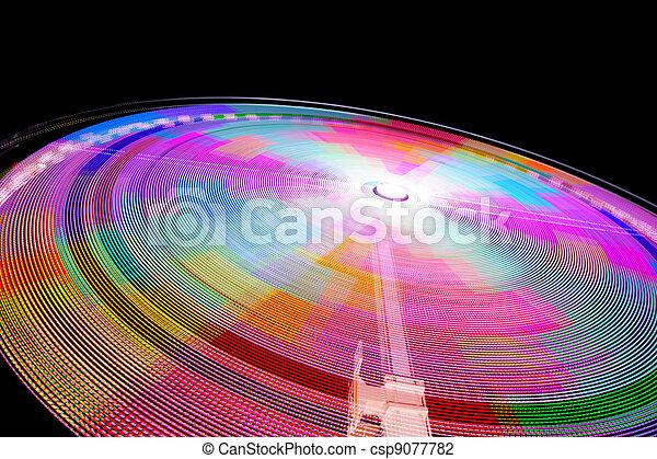 Fast thrill ride at night - csp9077782