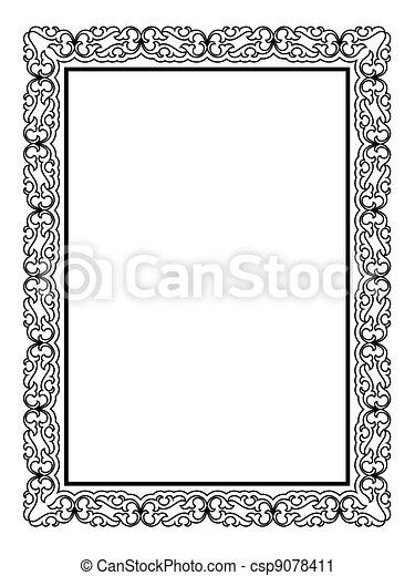 simple black ornamental decorative frame - csp9078411