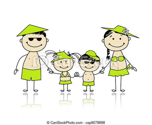 Summer holidays. Happy family for your design - csp9078898