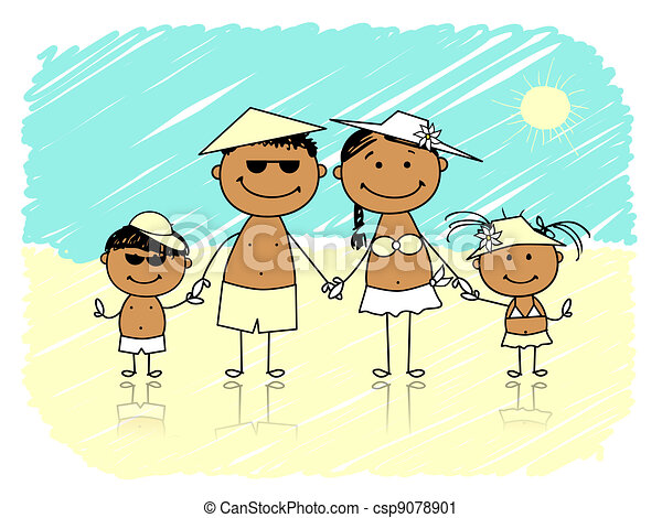 Summer holidays. Happy family on the beach - csp9078901