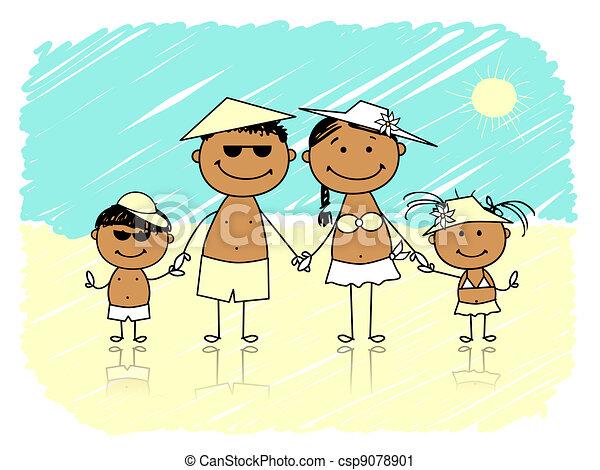 Summer holidays. Happy family on the beach - csp9078901