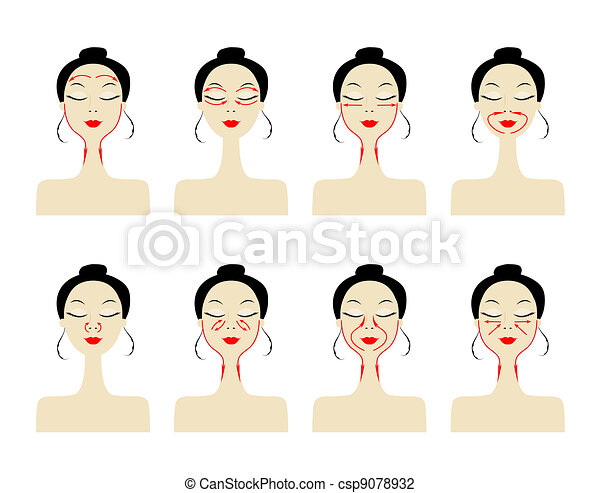 Massage lines on woman face - csp9078932