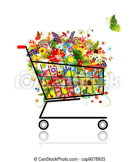 Vectors of Floral bouquet in shopping cart for your design ...
