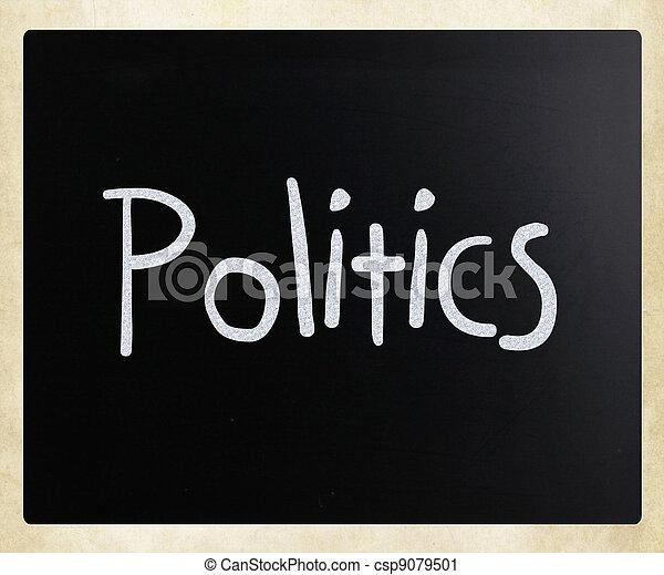 "The word ""Politics"" handwritten with white chalk on a blackboard - csp9079501"