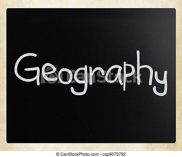 """Geography"" handwritten with white chalk on a blackboard - csp9079792"