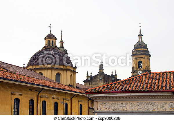 rooftop view Cathedral Primada Catedral Plaza Bolivar La Candelaria Bogota Colombia colorful architecture historic district - csp9080286