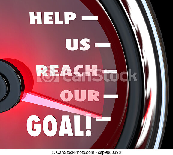 Help Us Reach Our Goal Speedometer Fundraiser Support - csp9080398