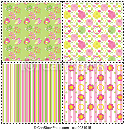 Set of Easter holiday seamless pattern - csp9081915