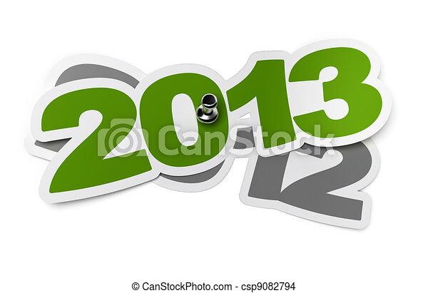 2013, -, dos, mil, trece, verde, Pegatina, encima, 2012, dos, mil, doce, blanco, Plano de fondo, sombra, Chinche - csp9082794