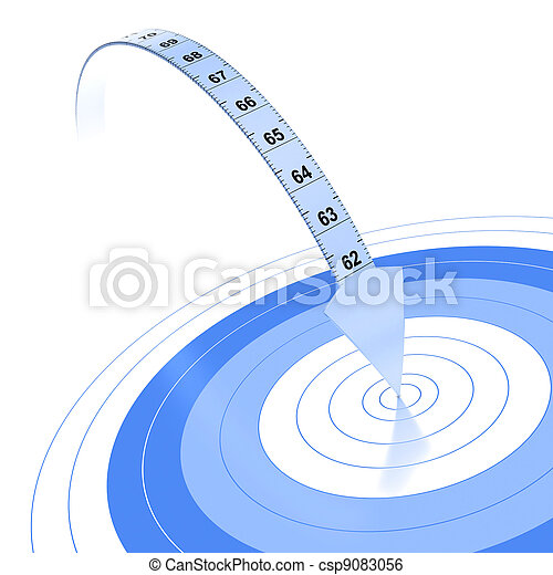 Plastic tape measure with an arrow at the extremity. Blue color over white background with reflection and target - csp9083056