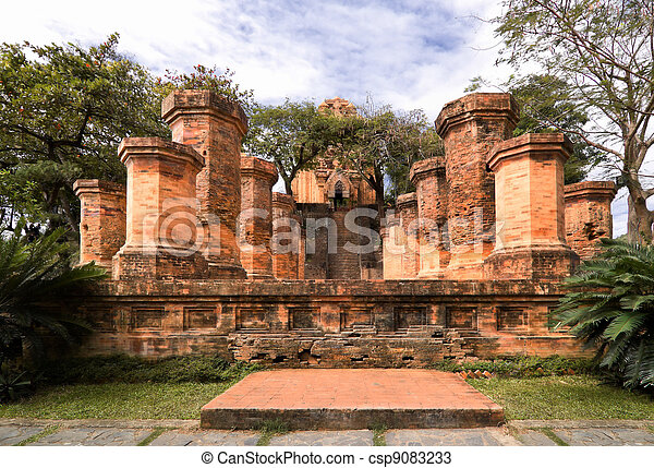 Columns of cham temple in Vietnam - csp9083233