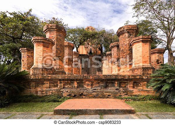 Columns of cham temple in Vietnam - csp9083233