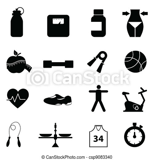 Fitness and diet icon set - csp9083340