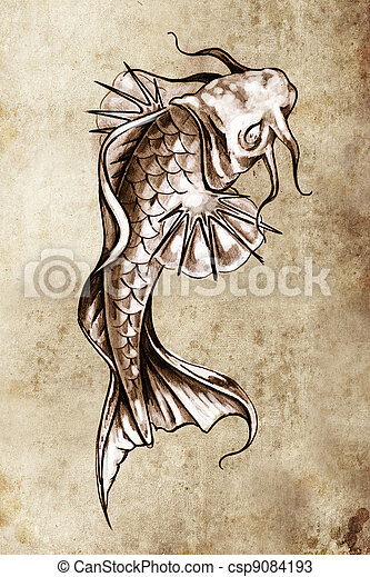 Photos de croquis de tatouage art japonaise poisson - Croquis poisson ...