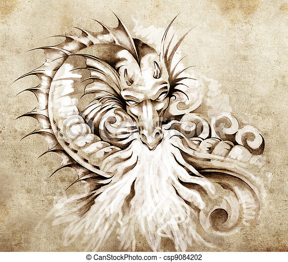 Sketch of tattoo art, fantasy medieval dragon with white fire - csp9084202
