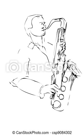 musician with a saxophone sketch arcwise - csp9084302
