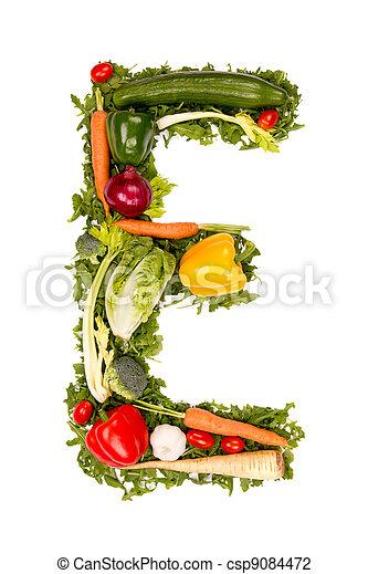 Stock Photo of Vegetable letter - Vegetable alphabet letter, isolated on...