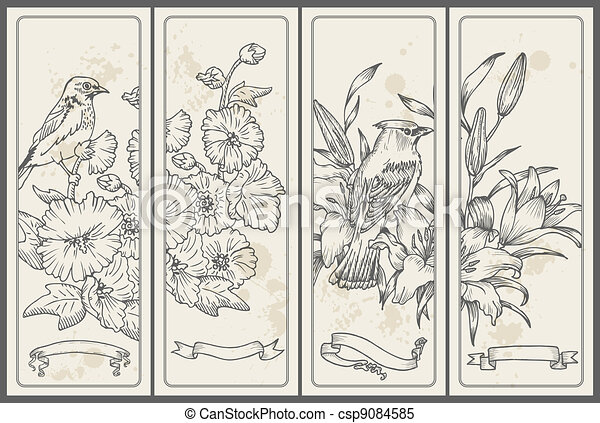 Retro Flower and  Bird Banners - hand drawn in vector - csp9084585