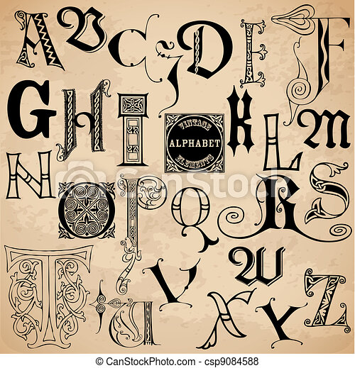 Vintage Alphabet - hand drawn in vector - High Quality - csp9084588