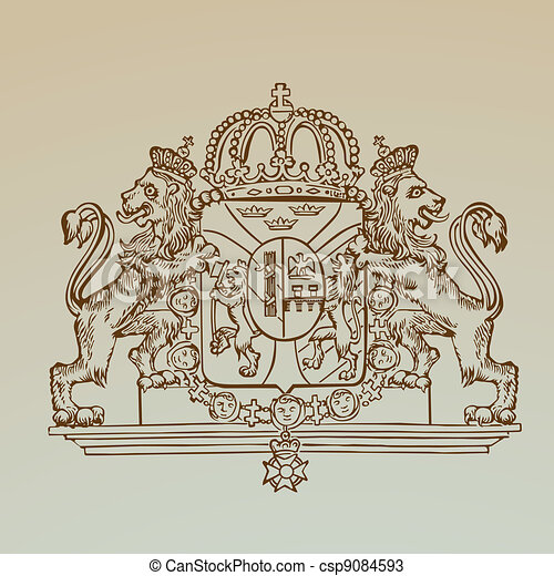 Detailed Vintage Royalty Emblem - High Quality -  in vector - csp9084593
