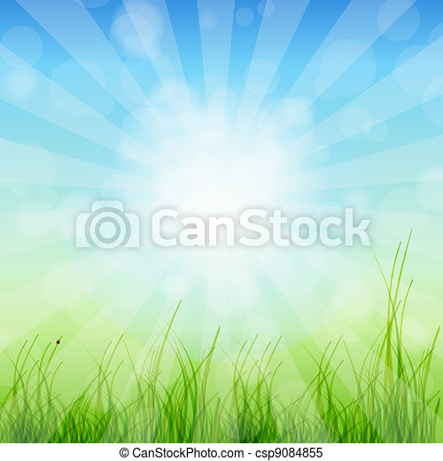 Summer Abstract Background with grass and tulips against sunny sky. Vector illustration. - csp9084855