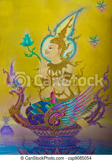 The Thai art of religion on wall of temple. - csp9085054