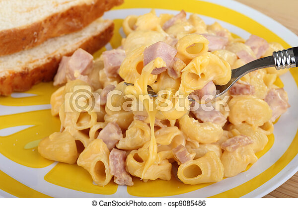 Stock Image of Mac and Cheese - Macaroni and cheese with ham on a ...