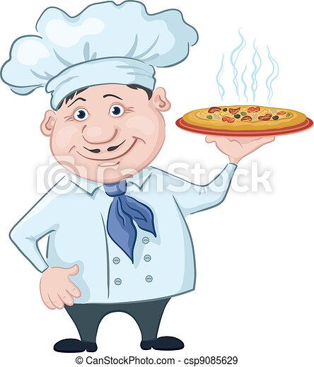 EPS Vektoren von Koch, heiß, hält, pizza - karikatur, Koch ...   {Koch bei der arbeit clipart 63}