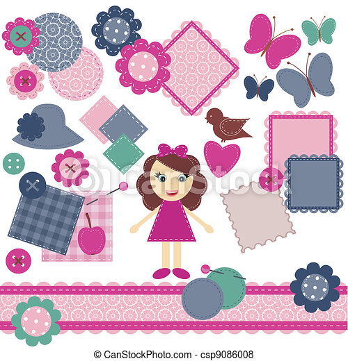 scrapbook objects on white  - csp9086008