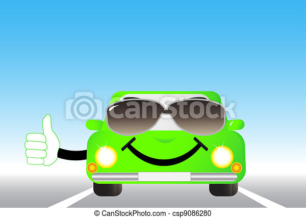 cheerful car on road - csp9086280